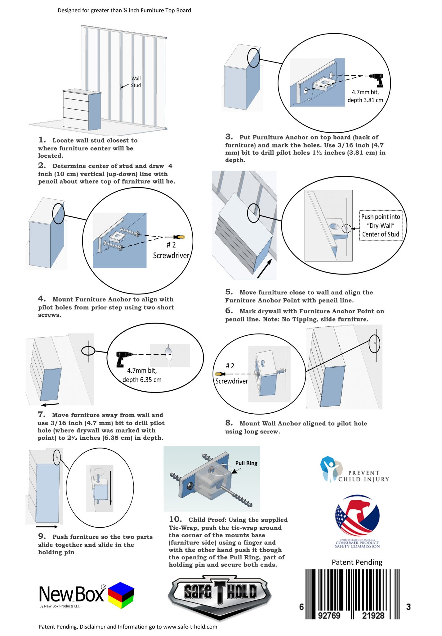 Safe-T-Hold Installation Instructions